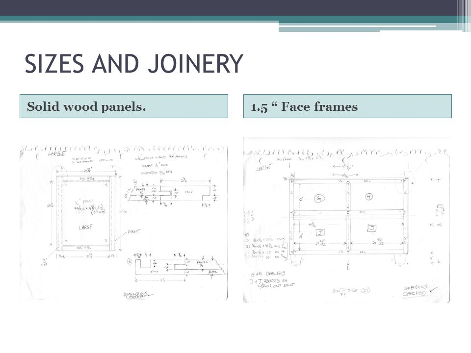 SIZES AND JOINERY Solid wood panels.1.5 Face frames