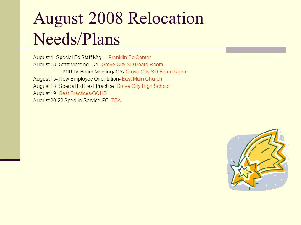 August 2008 Relocation Needs/Plans August 4- Special Ed Staff Mtg.
