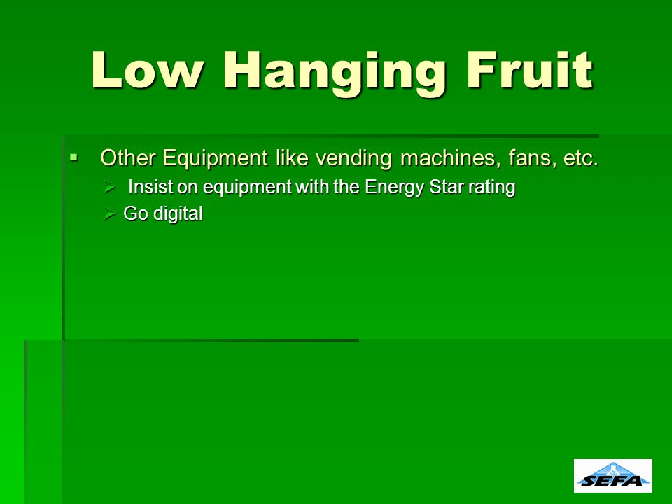 Other Equipment like vending machines, fans, etc. Other Equipment like vending machines, fans, etc.