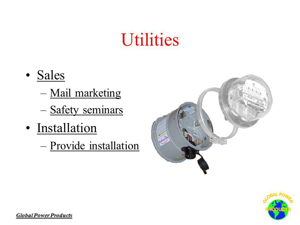 Global Power Products Utilities Sales –Mail marketing –Safety seminars Installation –Provide installation