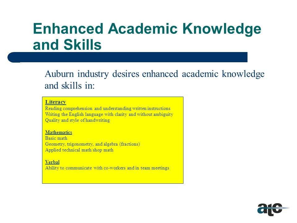 What are Academic Knowledge and Skills. Academic skills, such as mathematics, writing, etc.