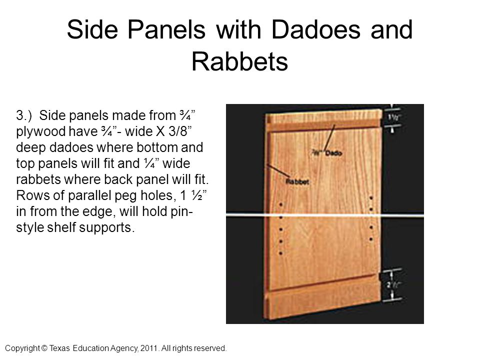 Side Panels with Dadoes and Rabbets 3.) Side panels made from ¾ plywood have ¾- wide X 3/8 deep dadoes where bottom and top panels will fit and ¼ wide rabbets where back panel will fit.