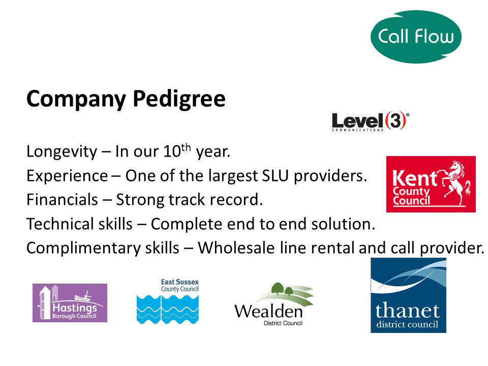 Company Pedigree Longevity – In our 10 th year. Experience – One of the largest SLU providers.