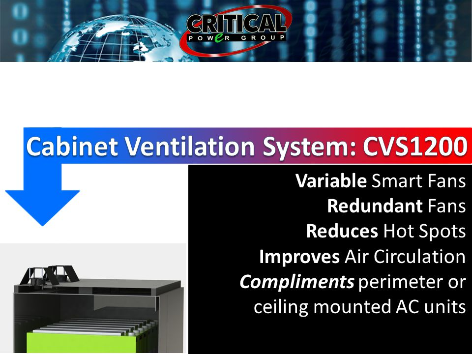 Variable Smart Fans Redundant Fans Reduces Hot Spots Improves Air Circulation Compliments perimeter or ceiling mounted AC units