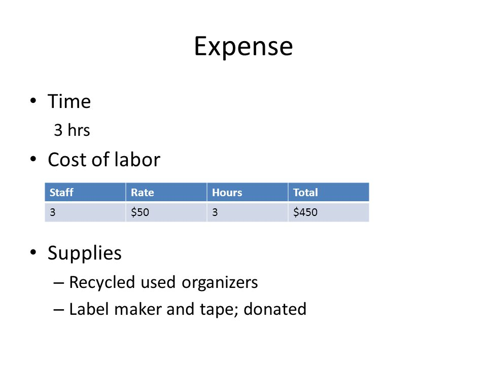 Expense Time 3 hrs Cost of labor Supplies – Recycled used organizers – Label maker and tape; donated StaffRateHoursTotal 3$503$450