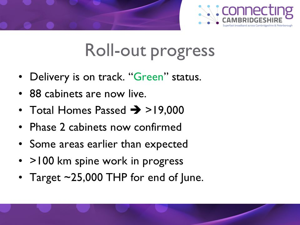 Roll-out progress Delivery is on track. Green status.