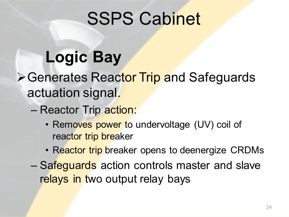 SSPS Cabinet Logic Bay Generates Reactor Trip and Safeguards actuation signal.