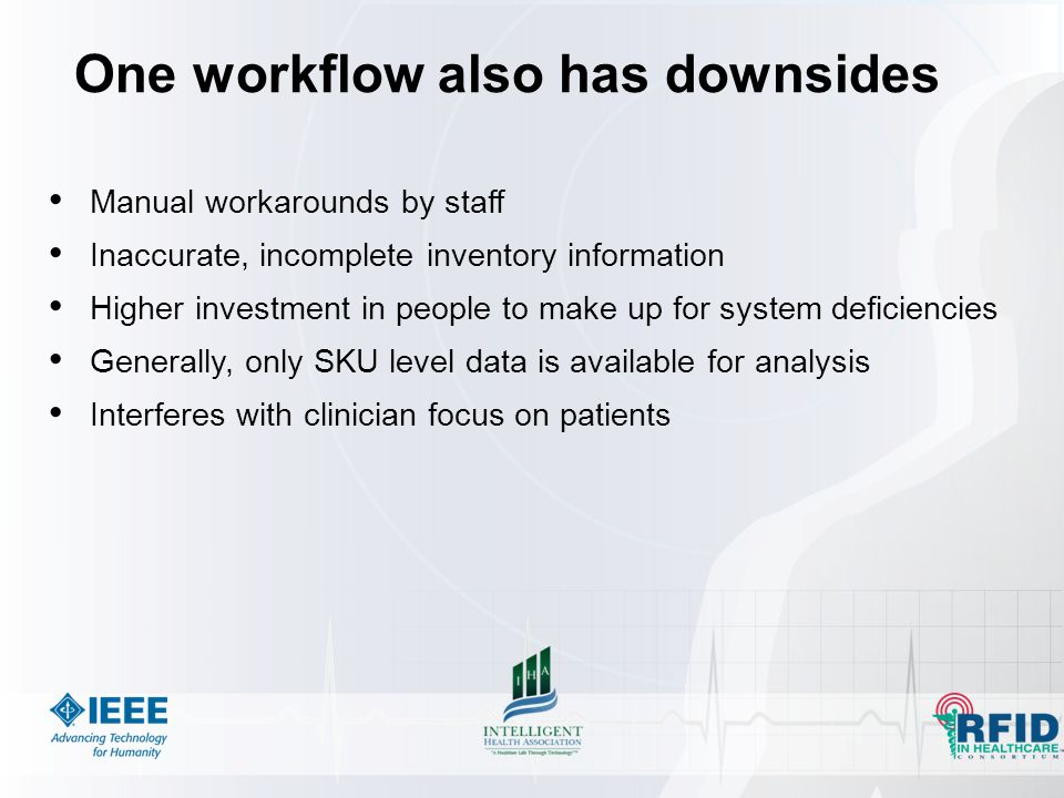 One workflow also has downsides Manual workarounds by staff Inaccurate, incomplete inventory information Higher investment in people to make up for system deficiencies Generally, only SKU level data is available for analysis Interferes with clinician focus on patients