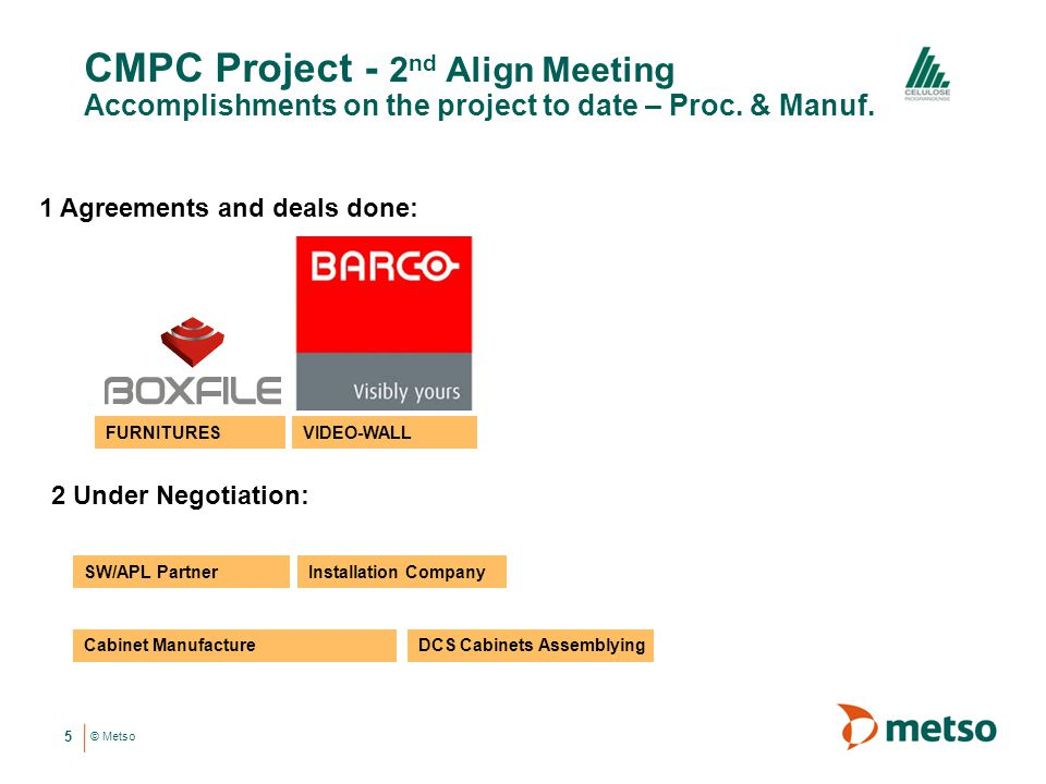 © Metso CMPC Project - 2 nd Align Meeting Accomplishments on the project to date – Proc.