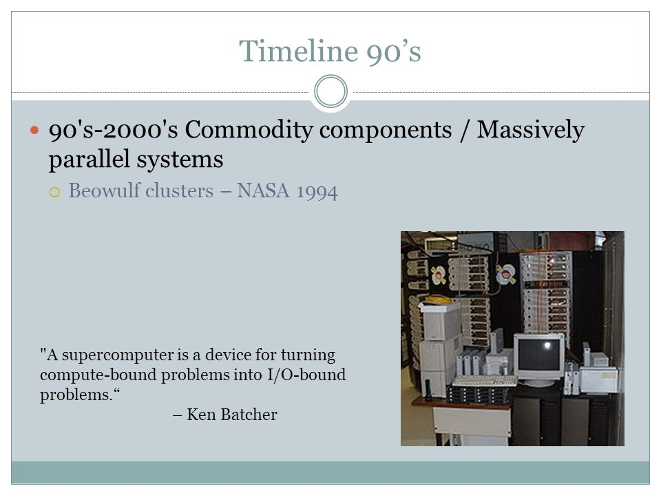 Timeline 90s 90 s-2000 s Commodity components / Massively parallel systems Beowulf clusters – NASA 1994 A supercomputer is a device for turning compute-bound problems into I/O-bound problems.