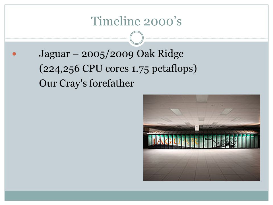 Timeline 2000s Jaguar – 2005/2009 Oak Ridge (224,256 CPU cores 1.75 petaflops) Our Cray s forefather