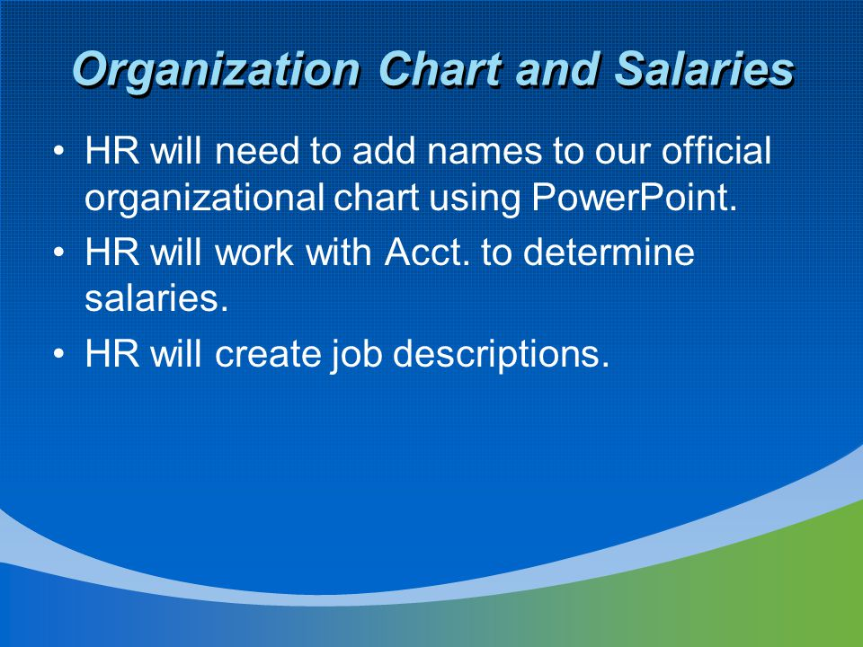 Organization Chart and Salaries HR will need to add names to our official organizational chart using PowerPoint.