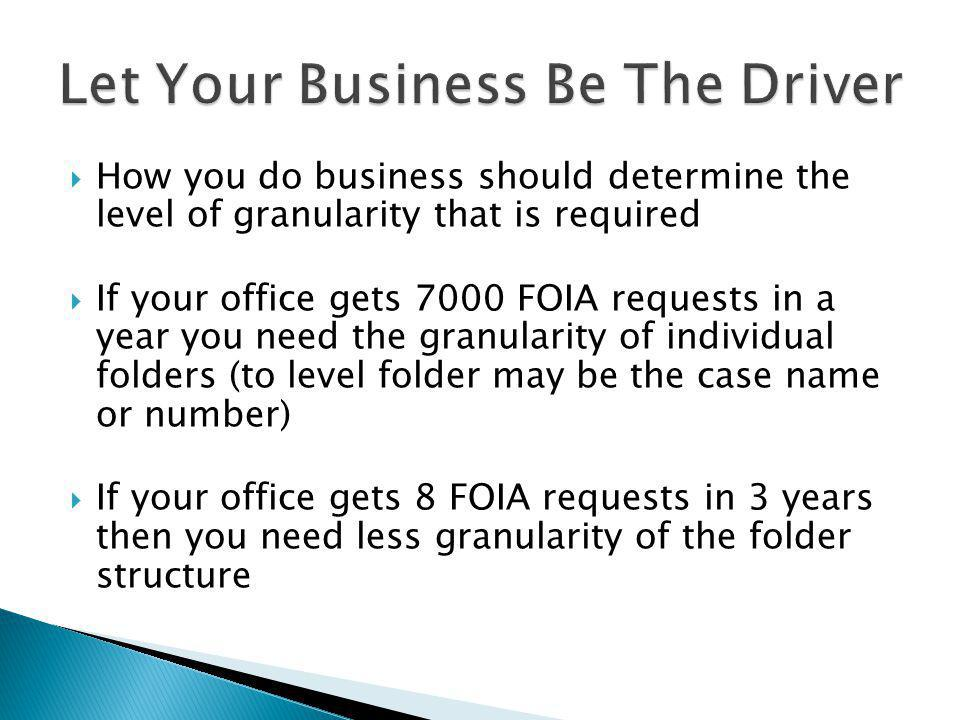 How you do business should determine the level of granularity that is required If your office gets 7000 FOIA requests in a year you need the granularity of individual folders (to level folder may be the case name or number) If your office gets 8 FOIA requests in 3 years then you need less granularity of the folder structure