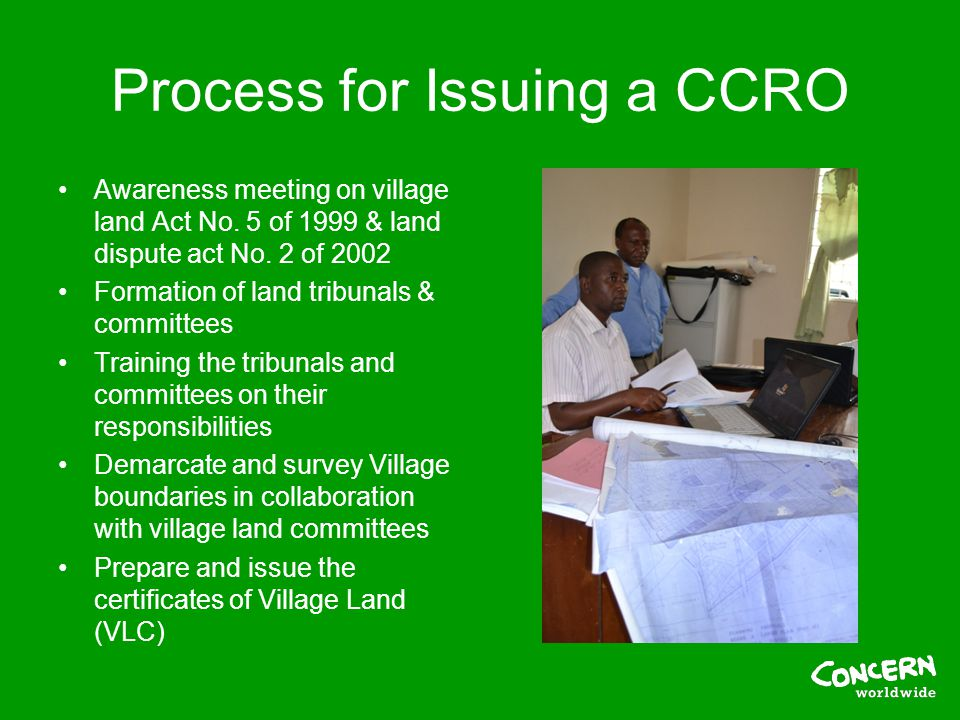 Process for Issuing a CCRO Awareness meeting on village land Act No.