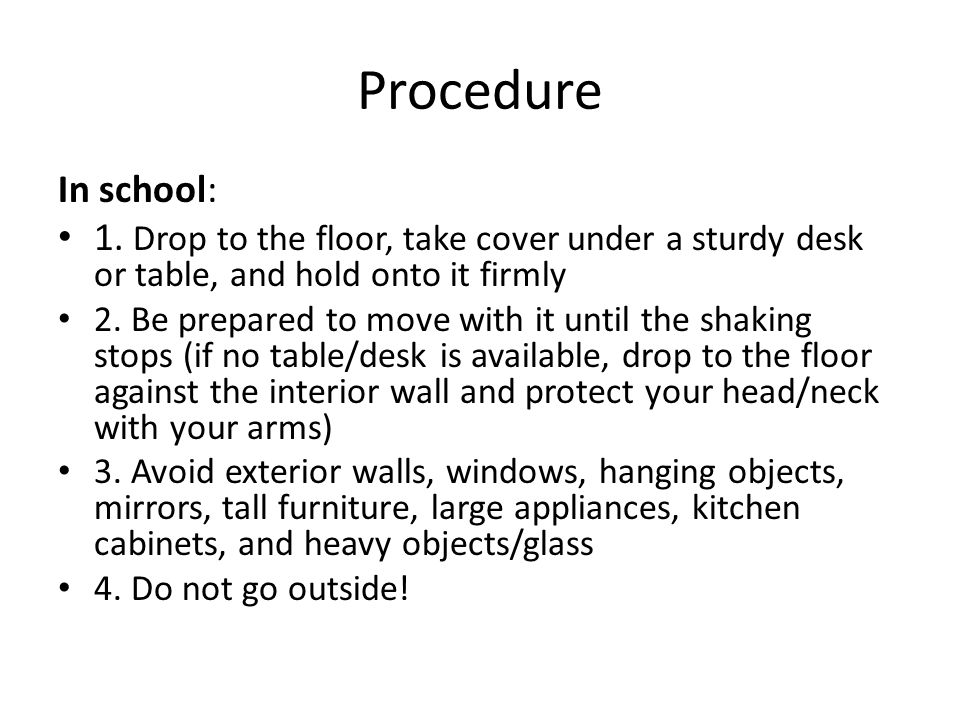 Procedure In school: 1.