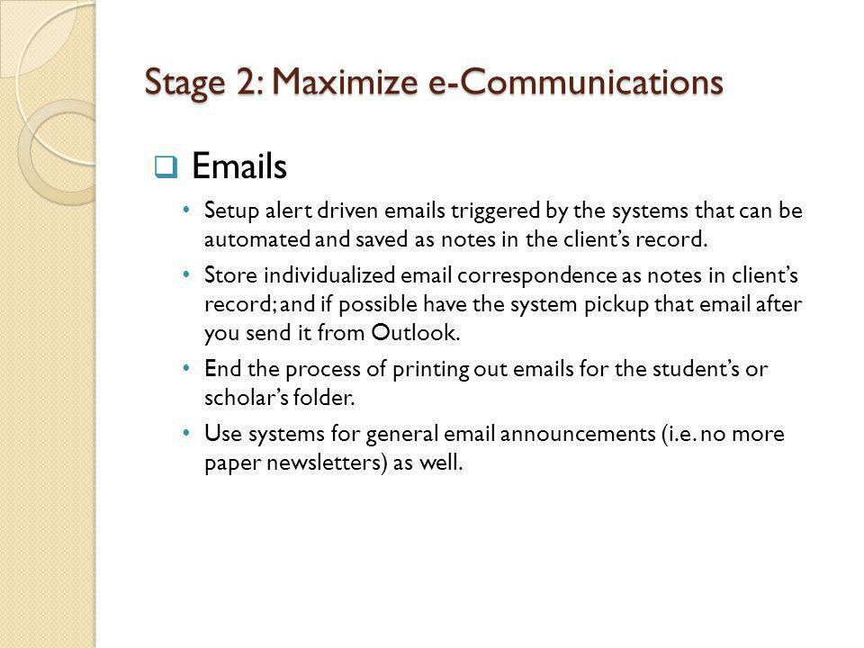 Stage 2: Maximize e-Communications Emails Setup alert driven emails triggered by the systems that can be automated and saved as notes in the clients record.