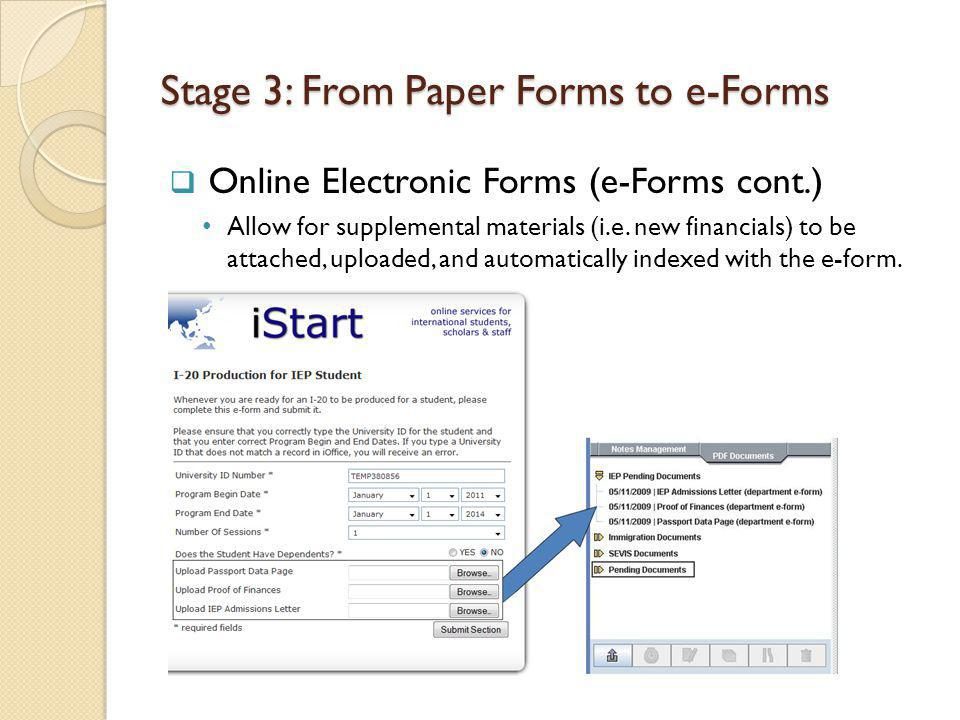 Stage 3: From Paper Forms to e-Forms Online Electronic Forms (e-Forms cont.) Allow for supplemental materials (i.e.