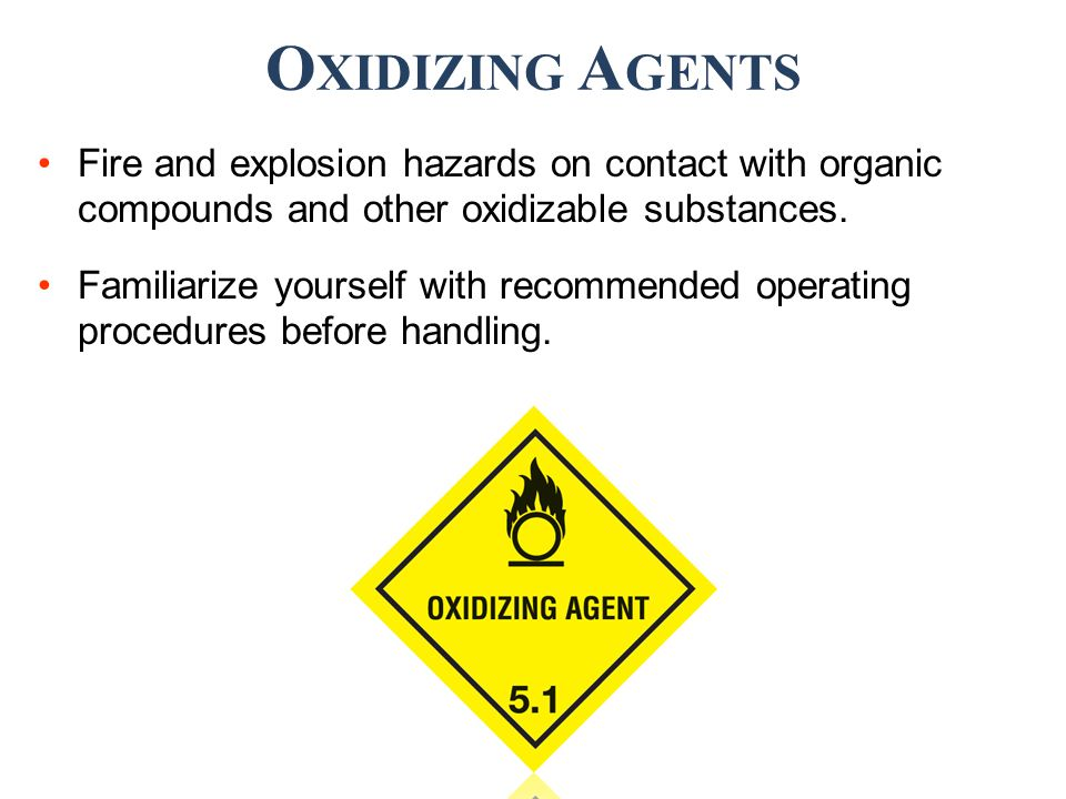 Fire and explosion hazards on contact with organic compounds and other oxidizable substances.