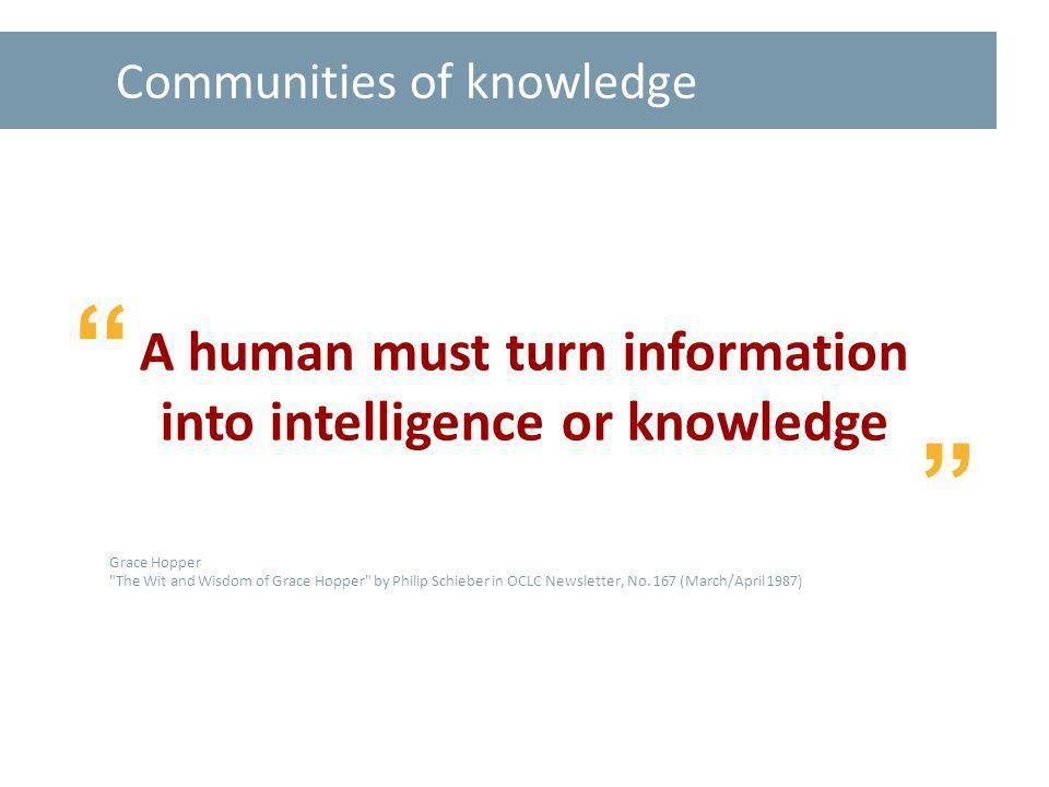 Communities of knowledge A human must turn information into intelligence or knowledge Grace Hopper The Wit and Wisdom of Grace Hopper by Philip Schieber in OCLC Newsletter, No.