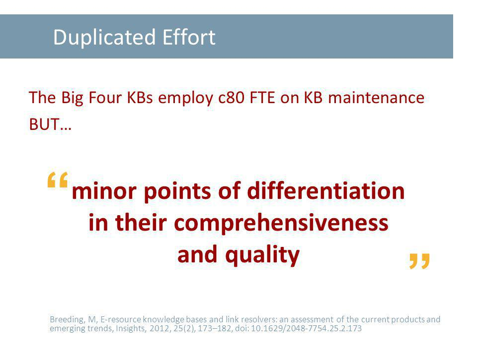 Duplicated Effort The Big Four KBs employ c80 FTE on KB maintenance BUT… Breeding, M, E-resource knowledge bases and link resolvers: an assessment of the current products and emerging trends, Insights, 2012, 25(2), 173–182, doi: 10.1629/2048-7754.25.2.173 minor points of differentiation in their comprehensiveness and quality