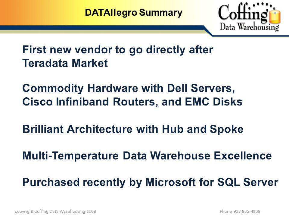 Copyright Coffing Data Warehousing 2008 Phone 937 855-4838 DATAllegro Summary First new vendor to go directly after Teradata Market Commodity Hardware with Dell Servers, Cisco Infiniband Routers, and EMC Disks Brilliant Architecture with Hub and Spoke Multi-Temperature Data Warehouse Excellence Purchased recently by Microsoft for SQL Server