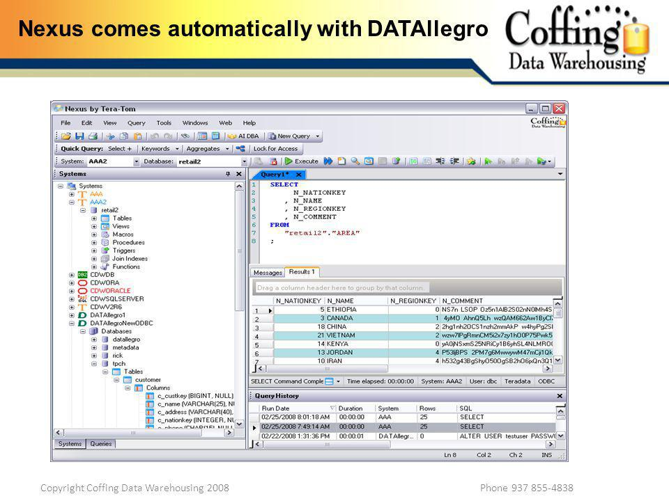 Copyright Coffing Data Warehousing 2008 Phone 937 855-4838 Nexus comes automatically with DATAllegro