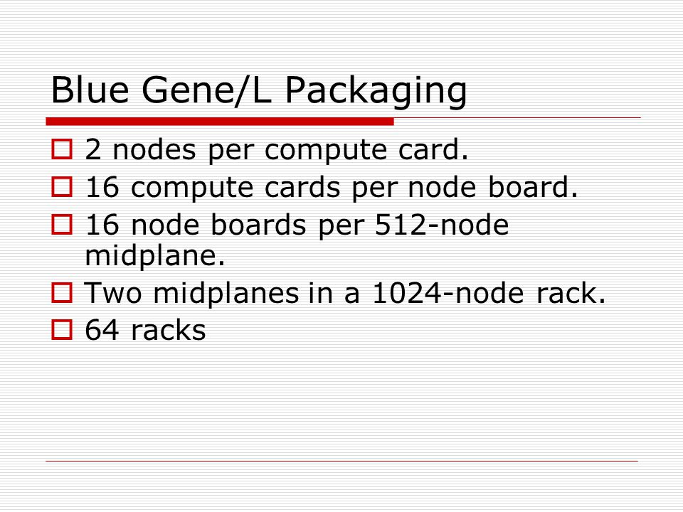 Blue Gene/L Packaging 2 nodes per compute card. 16 compute cards per node board.