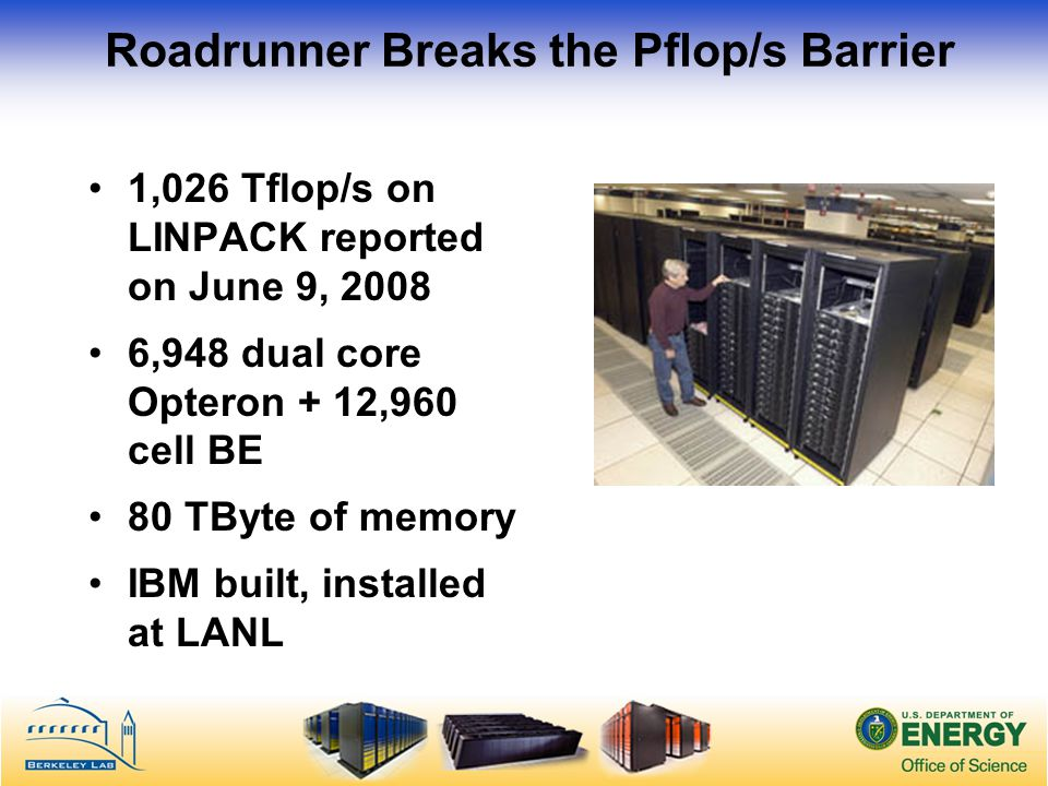 Roadrunner Breaks the Pflop/s Barrier 1,026 Tflop/s on LINPACK reported on June 9, 2008 6,948 dual core Opteron + 12,960 cell BE 80 TByte of memory IBM built, installed at LANL