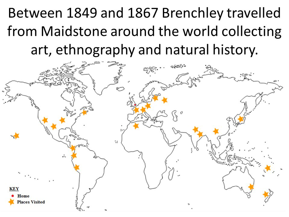 Between 1849 and 1867 Brenchley travelled from Maidstone around the world collecting art, ethnography and natural history.