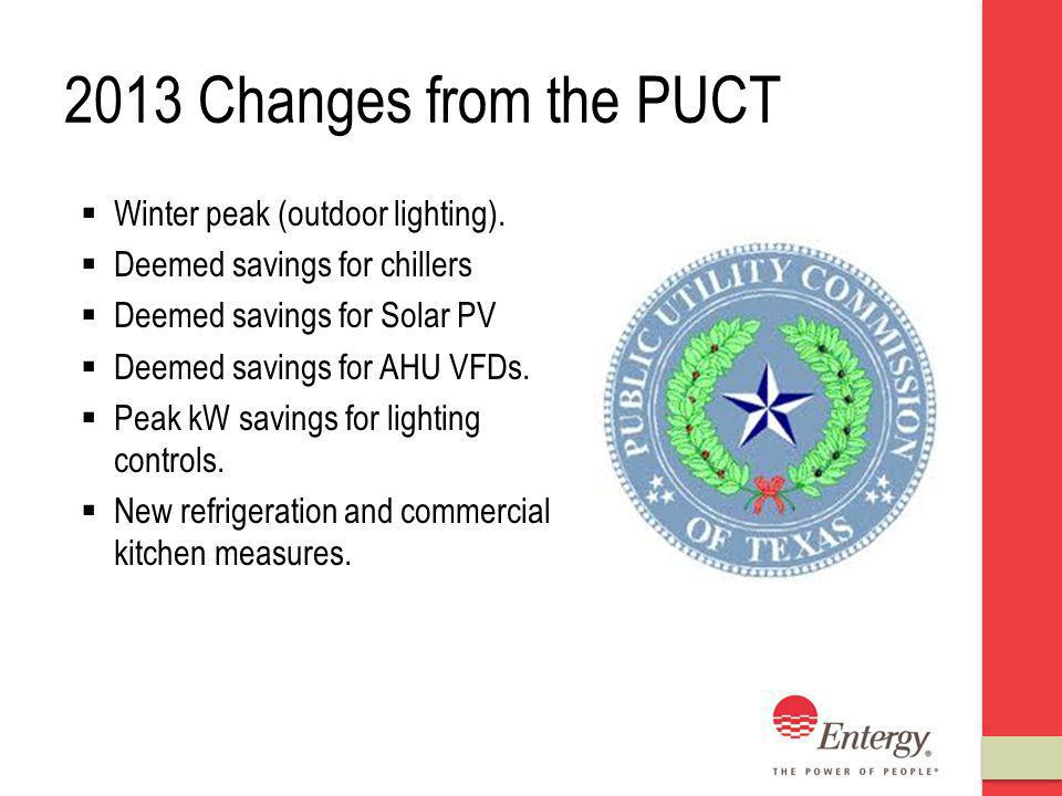 2013 Changes from the PUCT Winter peak (outdoor lighting).