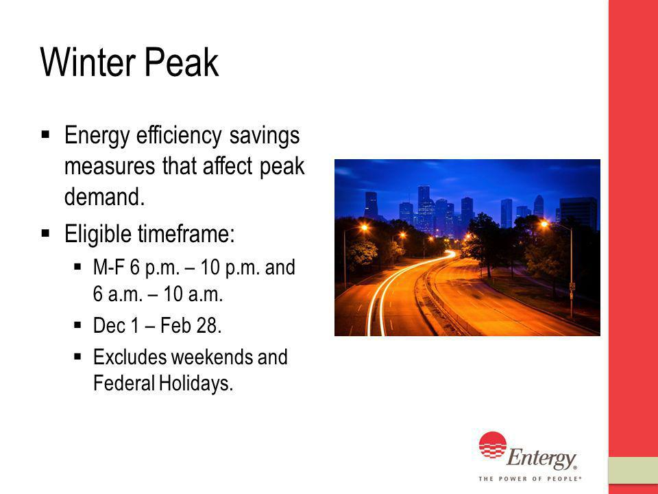 Winter Peak Energy efficiency savings measures that affect peak demand.