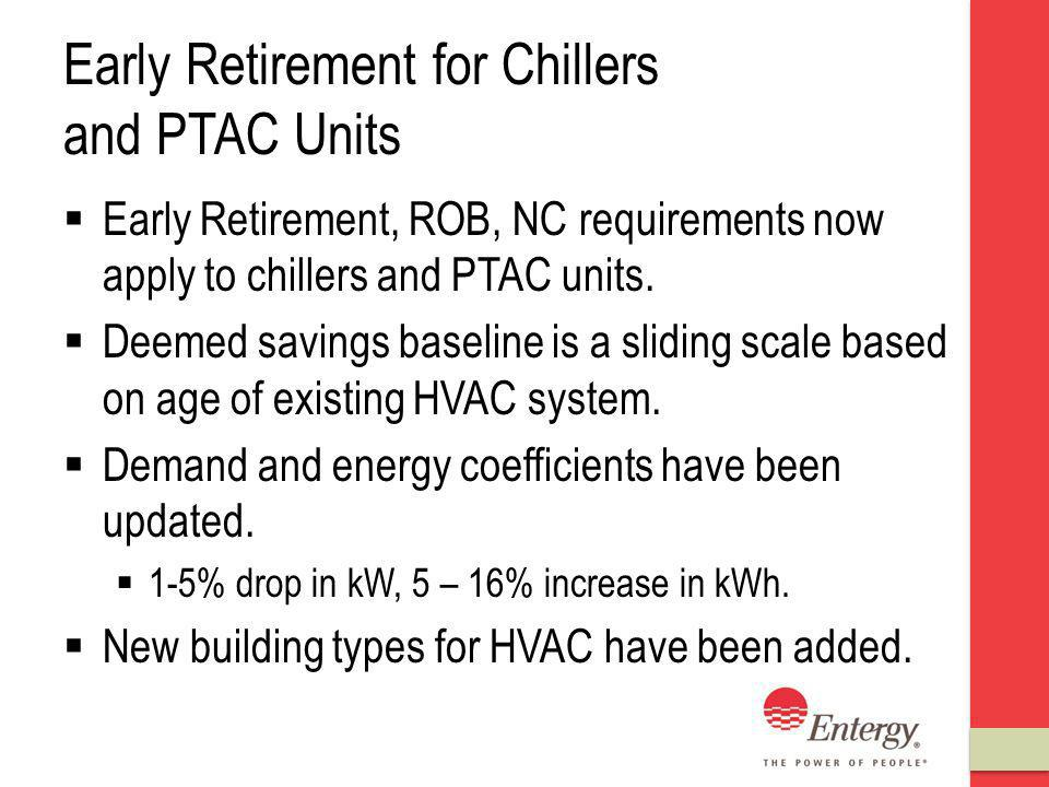 Early Retirement for Chillers and PTAC Units Early Retirement, ROB, NC requirements now apply to chillers and PTAC units.