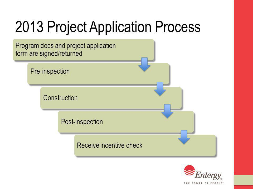 2013 Project Application Process Program docs and project application form are signed/returned Pre-inspection ConstructionPost-inspectionReceive incentive check