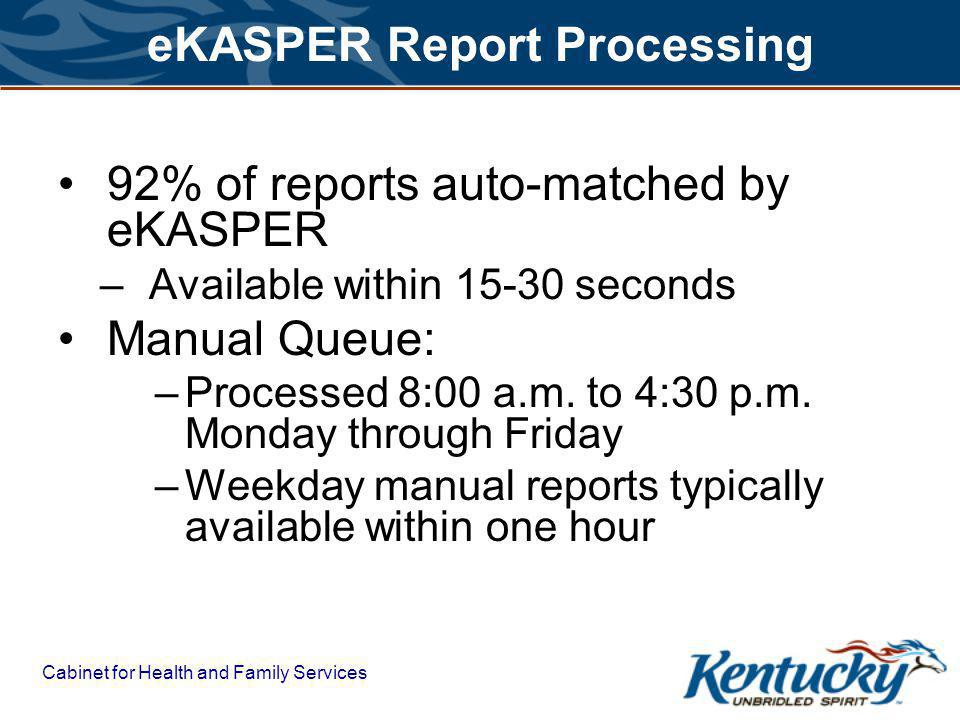 Cabinet for Health and Family Services eKASPER Report Processing 92% of reports auto-matched by eKASPER –Available within 15-30 seconds Manual Queue: –Processed 8:00 a.m.