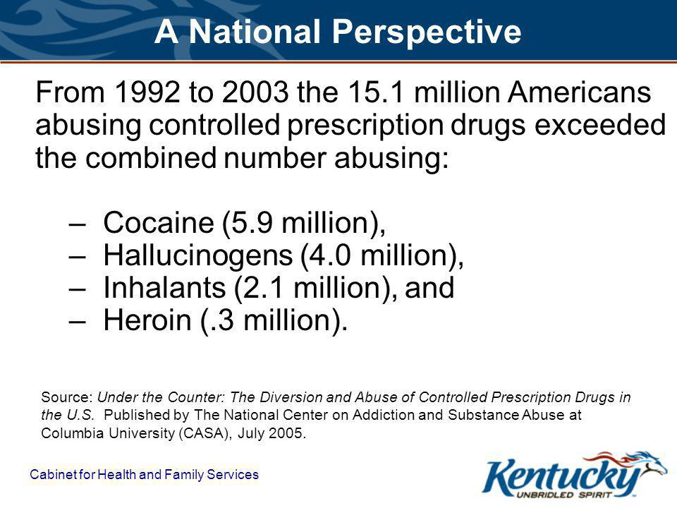 Cabinet for Health and Family Services A National Perspective From 1992 to 2003 the 15.1 million Americans abusing controlled prescription drugs exceeded the combined number abusing: –Cocaine (5.9 million), –Hallucinogens (4.0 million), –Inhalants (2.1 million), and –Heroin (.3 million).