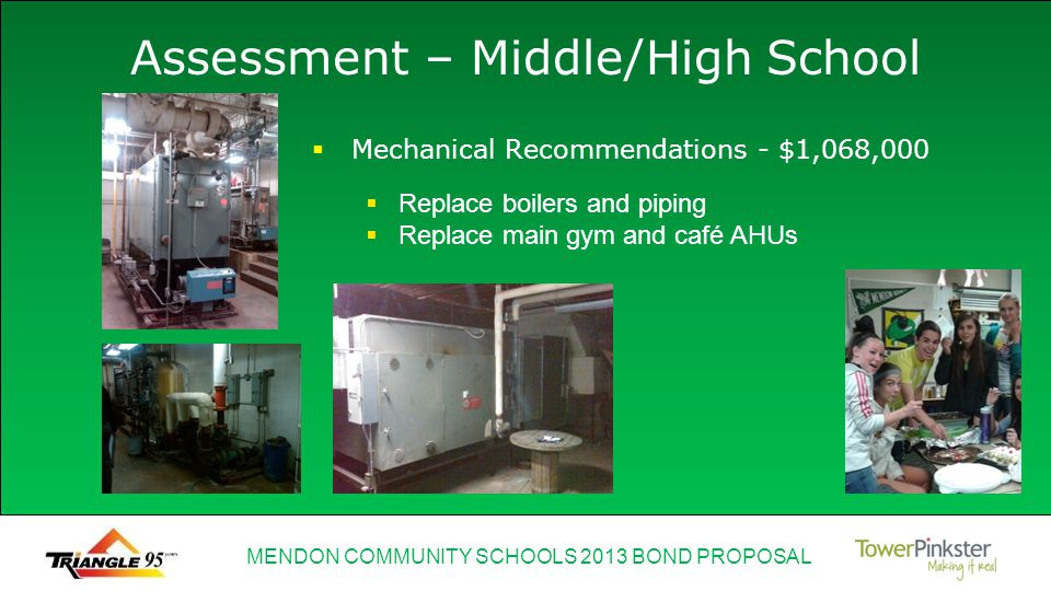 MENDON COMMUNITY SCHOOLS 2013 BOND PROPOSAL Assessment – Middle/High School Replace boilers and piping Replace main gym and café AHUs Mechanical Recommendations - $1,068,000