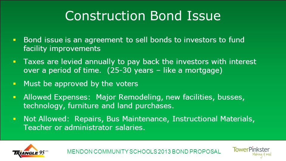 MENDON COMMUNITY SCHOOLS 2013 BOND PROPOSAL Construction Bond Issue Bond issue is an agreement to sell bonds to investors to fund facility improvements Taxes are levied annually to pay back the investors with interest over a period of time.