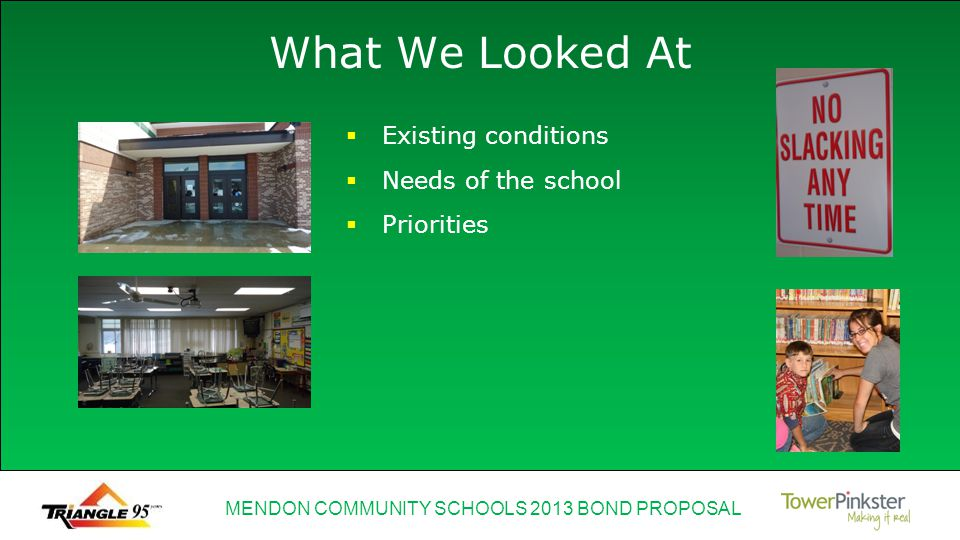 MENDON COMMUNITY SCHOOLS 2013 BOND PROPOSAL What We Looked At Existing conditions Needs of the school Priorities