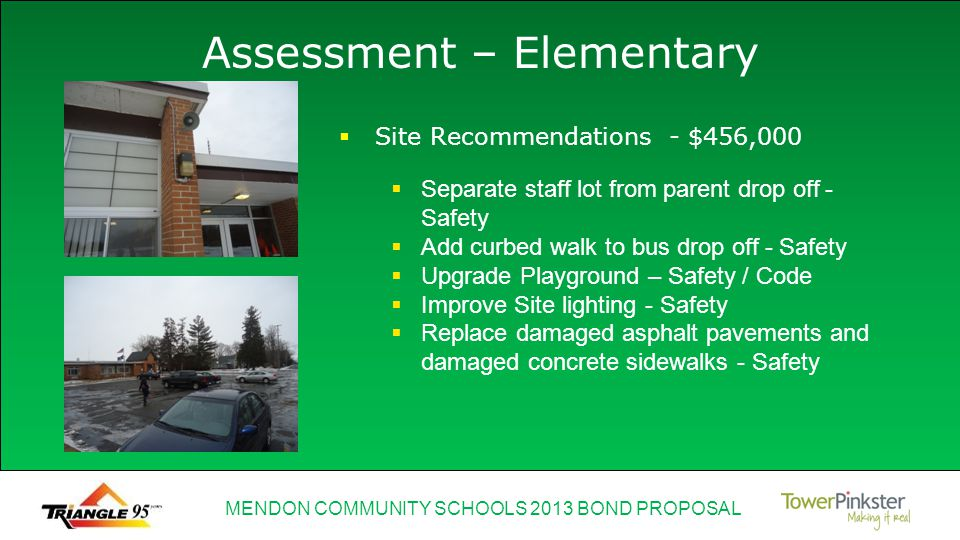 MENDON COMMUNITY SCHOOLS 2013 BOND PROPOSAL Assessment – Elementary Separate staff lot from parent drop off - Safety Add curbed walk to bus drop off - Safety Upgrade Playground – Safety / Code Improve Site lighting - Safety Replace damaged asphalt pavements and damaged concrete sidewalks - Safety Site Recommendations - $456,000