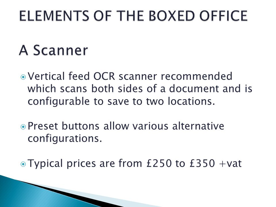 Vertical feed OCR scanner recommended which scans both sides of a document and is configurable to save to two locations.