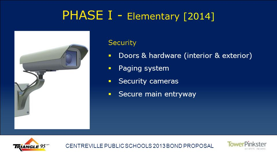 CENTREVILLE PUBLIC SCHOOLS 2013 BOND PROPOSAL PHASE I - Elementary [2014] Security Doors & hardware (interior & exterior) Paging system Security cameras Secure main entryway