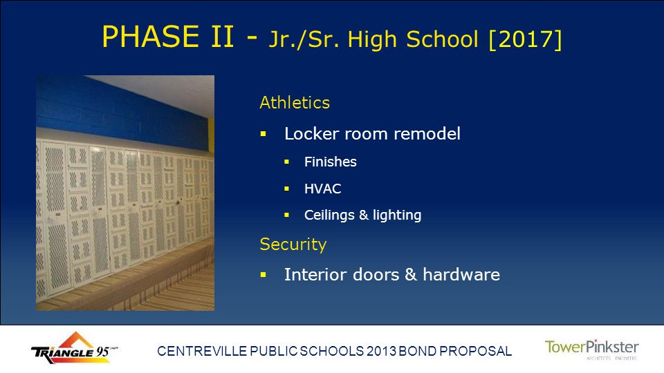 CENTREVILLE PUBLIC SCHOOLS 2013 BOND PROPOSAL PHASE II - Jr./Sr.