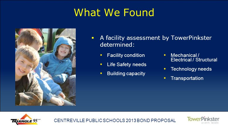 CENTREVILLE PUBLIC SCHOOLS 2013 BOND PROPOSAL What We Found A facility assessment by TowerPinkster determined: Facility condition Life Safety needs Building capacity Mechanical / Electrical / Structural Technology needs Transportation