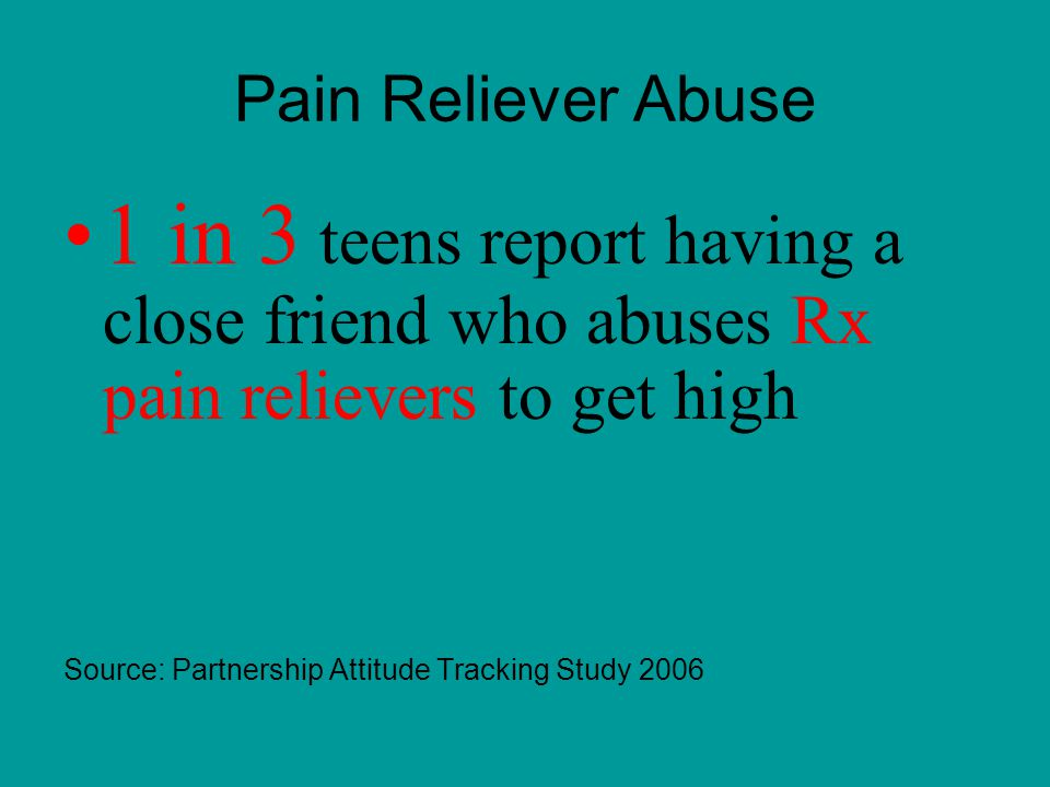 Pain Reliever Abuse 1 in 3 teens report having a close friend who abuses Rx pain relievers to get high Source: Partnership Attitude Tracking Study 2006