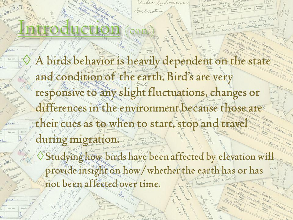 A birds behavior is heavily dependent on the state and condition of the earth.