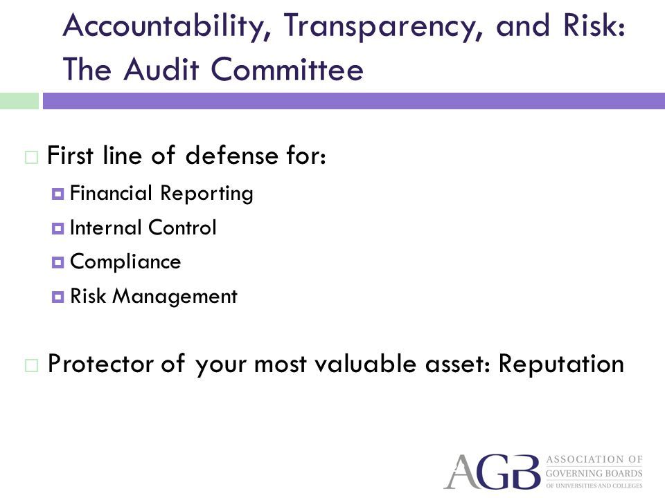 Accountability, Transparency, and Risk: The Audit Committee First line of defense for: Financial Reporting Internal Control Compliance Risk Management Protector of your most valuable asset: Reputation 22