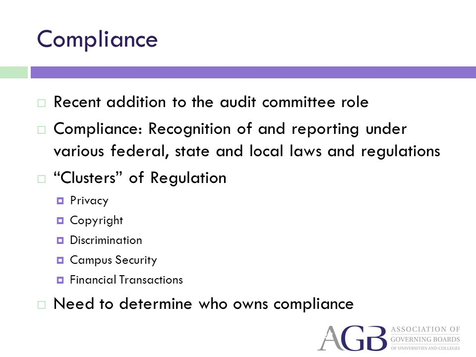 Compliance Recent addition to the audit committee role Compliance: Recognition of and reporting under various federal, state and local laws and regulations Clusters of Regulation Privacy Copyright Discrimination Campus Security Financial Transactions Need to determine who owns compliance 29