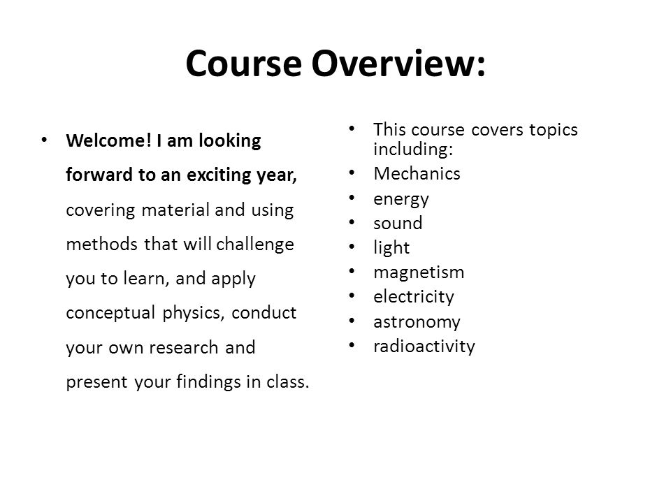 Course Overview: Welcome.
