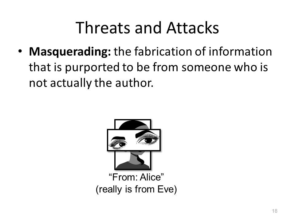 Threats and Attacks Masquerading: the fabrication of information that is purported to be from someone who is not actually the author.