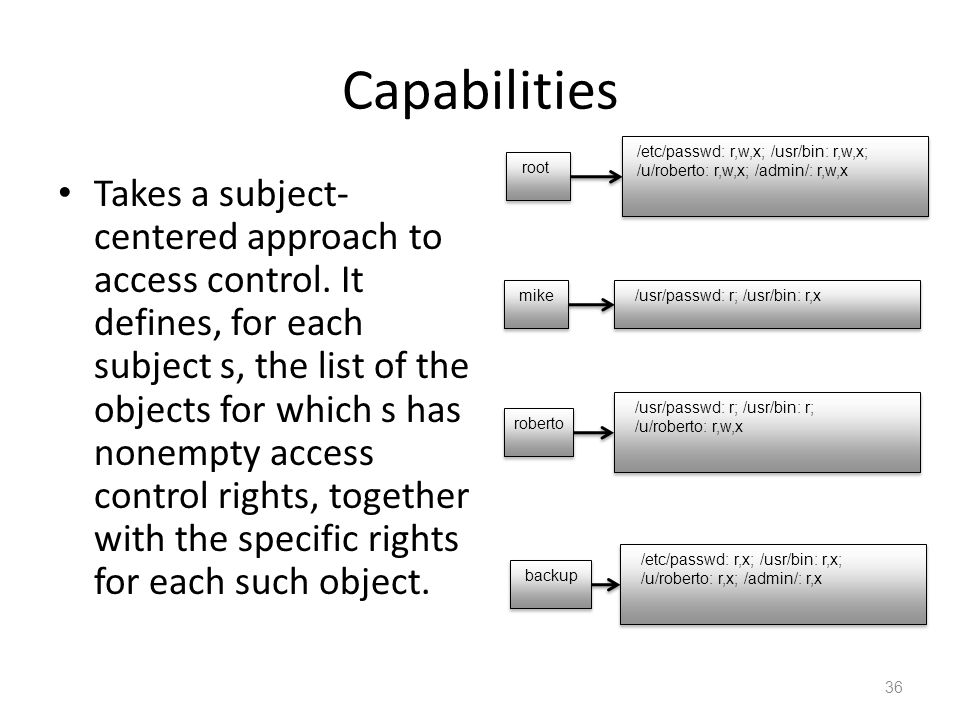 Capabilities Takes a subject- centered approach to access control.